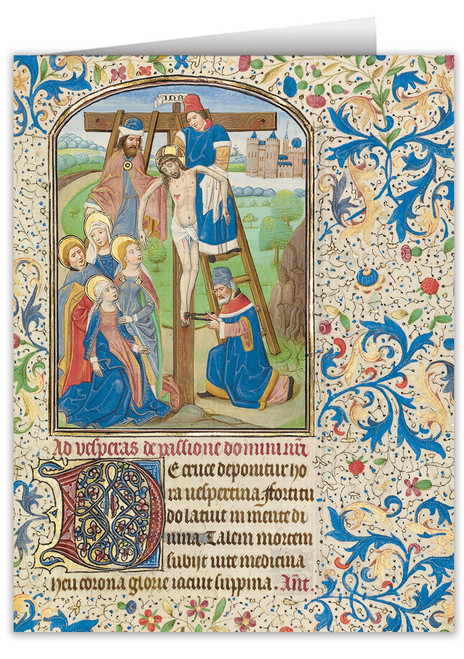 The Deposition by William Vrelant Illuminated Manuscript Note Card