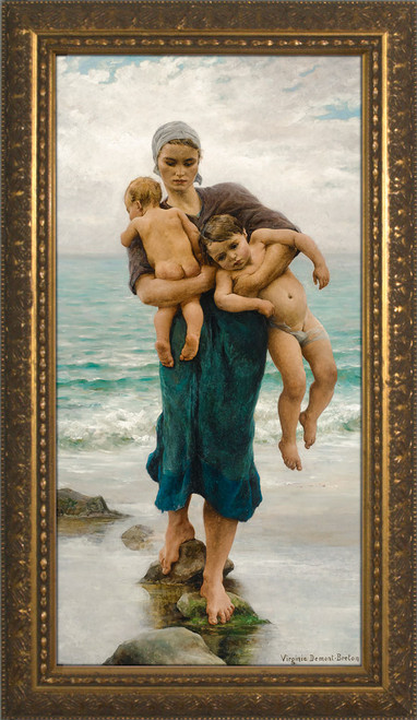 Fisherman's Wife Bathing Her Children by  Virginie Demont-Breton - Standard Gold Framed Art