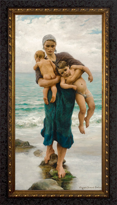 Fisherman's Wife Bathing Her Children by  Virginie Demont-Breton - Ornate Dark Framed Art