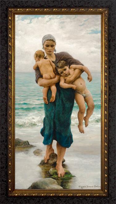 Fisherman's Wife Bathing Her Children by  Virginie Demont-Breton - Ornate Dark Framed Art