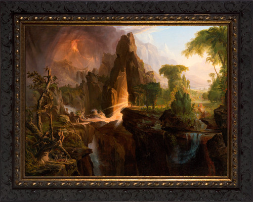 Expulsion from the Garden of Eden by Thomas Cole - Ornate Dark Framed Art