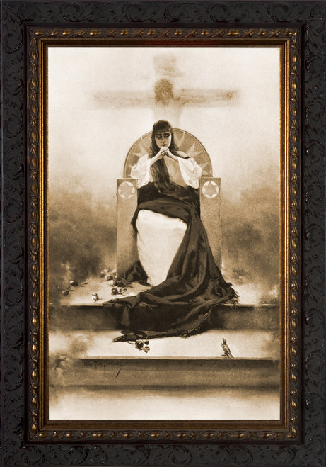 The Singer of the Mother of God by Piotr Stachiewicz - Ornate Dark Framed Art