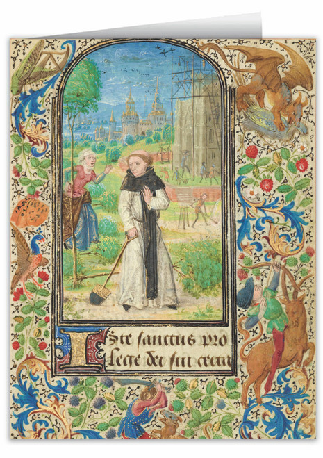 St. Fiacre's Trench by Lieven van Lathem Illuminated Manuscript Note Card