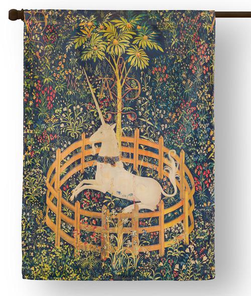 Unicorn in Captivity Outdoor House Flag