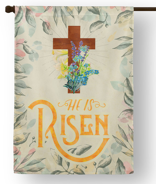 He is Risen Outdoor House Flag