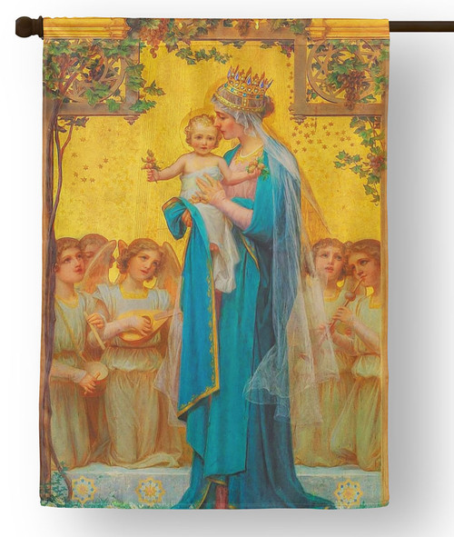 Madonna and Child by Enric M. Vidal Outdoor House Flag