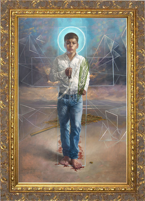 St. Jose Sanchez del Rio by René Martínez Valadez - Ornate Gold Framed Art
