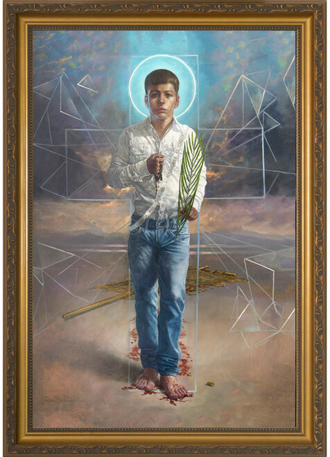 St. Jose Sanchez del Rio by René Martínez Valadez - Gold Framed Art