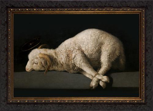Agnus Dei by Francisco Zurbarán - Ornate Dark Framed Art