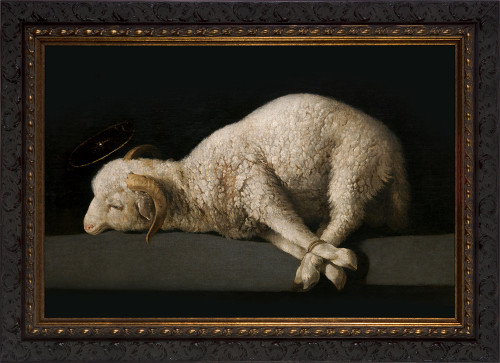 Agnus Dei by Francisco Zurbarán - Ornate Dark Framed Art