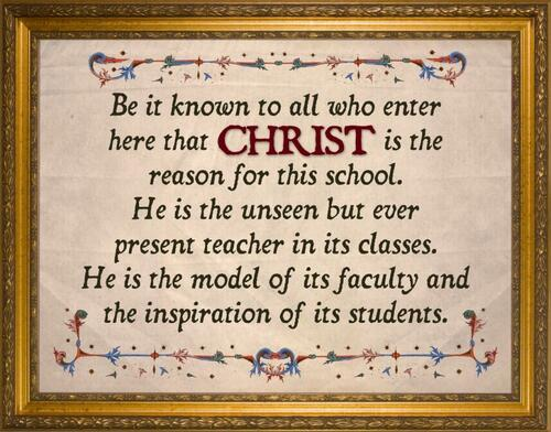 """Christ is the Reason For This School"" Large Framed Canvas Sign"