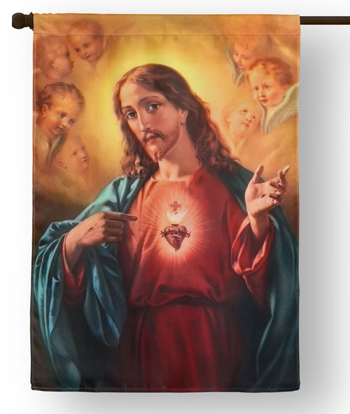 Sacred Heart of Jesus Outdoor House Flag