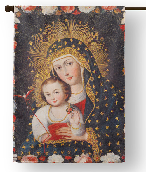 Madonna and Child with Bird Outdoor House Flag