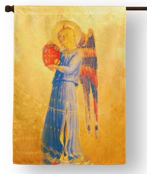 Fra Angelico Angel with Tambourine Outdoor House Flag