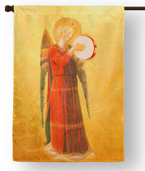 Fra Angelico Angel with Tambourine II Outdoor House Flag