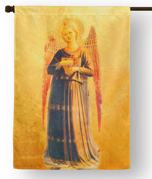 Fra Angelico Angel with Harp Outdoor House Flag