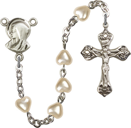 Heart-Shaped Pearl Beaded Rosary