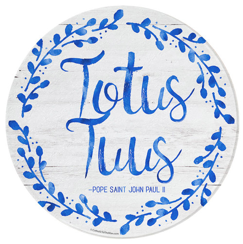 """Totus Tuus"" Round Glass Cutting Board"