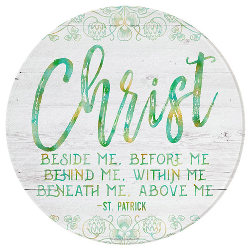"""""""Christ Beside Me"""" Round Glass Cutting Board"""