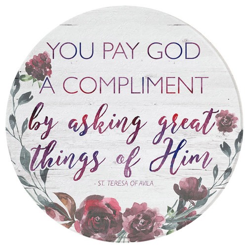 """""""You Pay God a Compliment"""" Round Glass Cutting Board"""