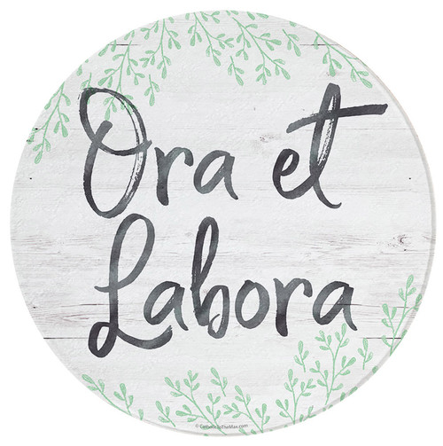 """Ora et Labora"" Round Glass Cutting Board"