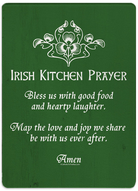 Irish Kitchen Prayer Rectangular Glass Cutting Board