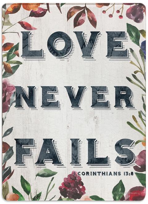 """Love Never Fails"" Rectangular Glass Cutting Board"