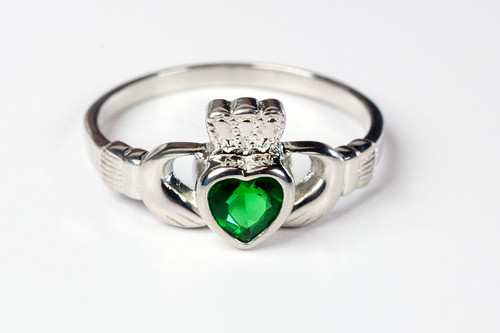 Sterling Silver Claddagh Ring with Emerald Stone