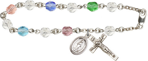 Silver-Plate Miraculous Medal Rosary Bracelet