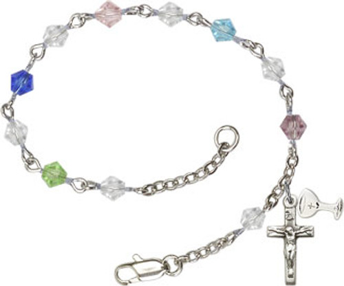 First Communion Rosary Bracelet with 5mm Rundell Beads