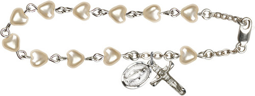 Heart-Shaped Pearl Beaded Rosary Bracelet with Miraculous Medal