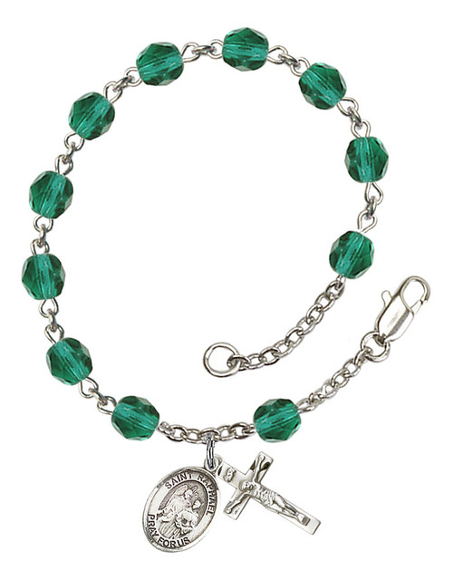 Hand Made Silver-Plated Rosary Bracelet with St. Raphael Medal