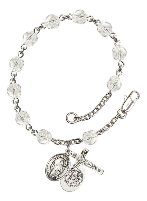 Hand Made Silver-Plated Rosary Bracelet with St. Benedict Medal