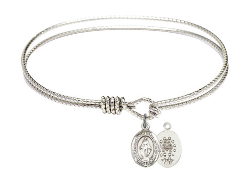 Oval Bangle Bracelet with Sterling Silver Miraculous Medal Charm