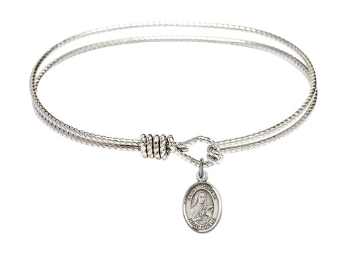 Oval Bangle Bracelet with Sterling Silver St Therese of Lisieux Charm