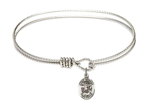 Oval Bangle Bracelet with Sterling Silver St Michael the Archangel Charm