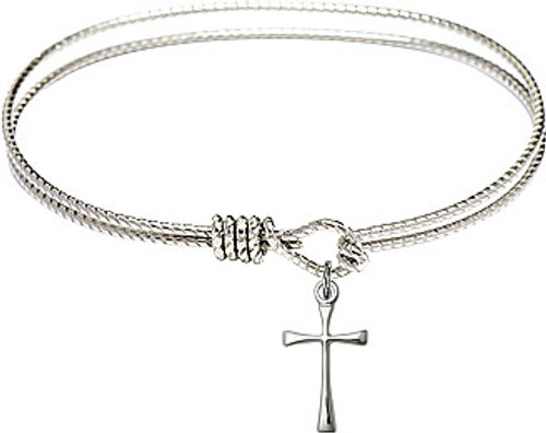 Oval Bangle Bracelet with Silver Plate Maltese Cross Charm