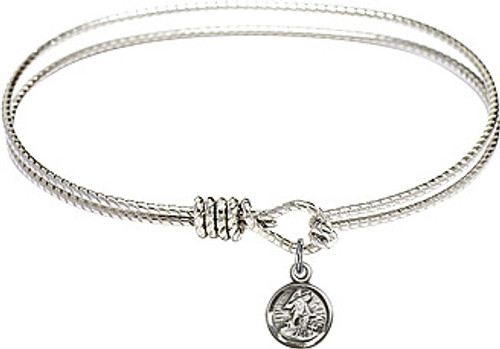 Oval Bangle Bracelet with Pewter Guardian Angel Charm
