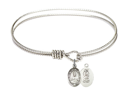 Oval Bangle Bracelet with Sterling Silver Scapular Charm
