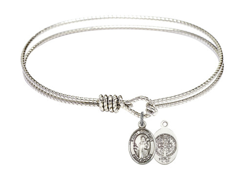Oval Bangle Bracelet with Sterling Silver St Benedict Charm
