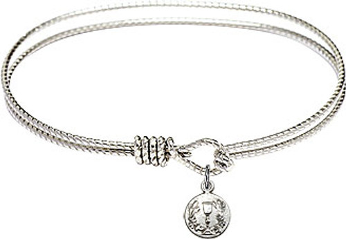 Oval Bangle Bracelet with Pewter Communion Chalice Charm