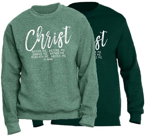 """Christ Beside Me"" St. Patrick Crewneck Sweatshirt"