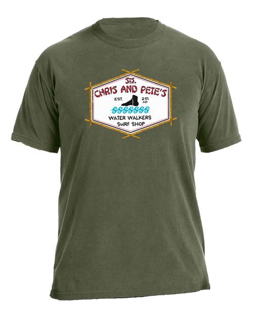 Sts. Chris and Pete's Surf Shop Hemp Green T-Shirt