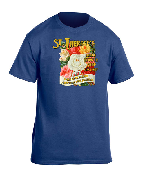 St. Therese Little Flower Shop Heather Blue T-Shirt