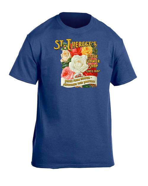 St. Therese Little Flower Shop Heather Blue T-Shirt