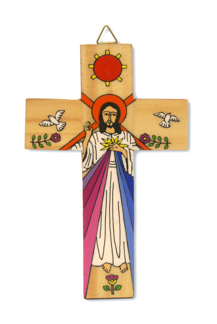 Divine Mercy Small Hand-Painted Salvadorian Cross
