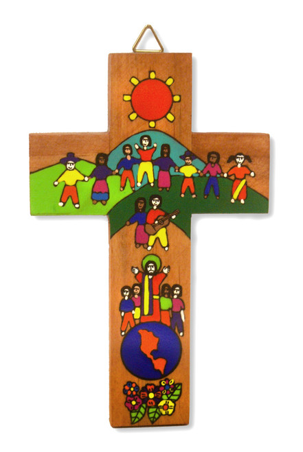World Family Small Hand-Painted Salvadorian Cross