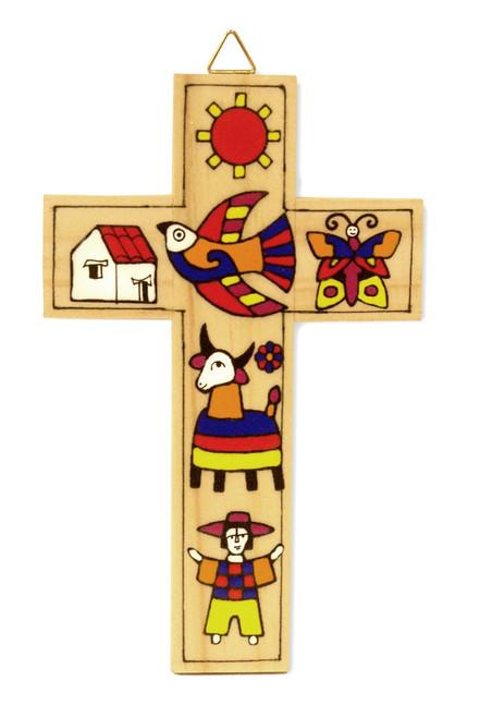 Garden Small Hand-Painted Salvadorian Cross