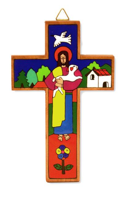 Good Shepherd Small Hand-Painted Salvadorian Cross