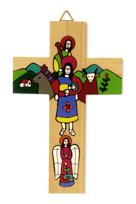 Holy Family Small Hand-Painted Salvadorian Cross